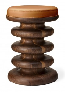 Vertere Stool in solid walnut and leather_Stuart Scott Associates Ltd