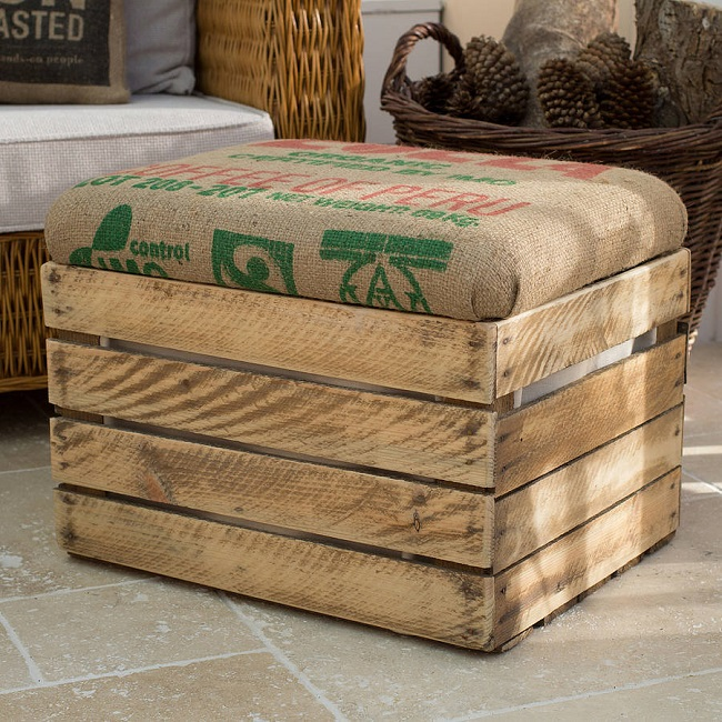 Hessian sacks transform upcycled furniture with burlap upholstery